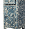 Mid Blue Mother of Pearl Bedside Cupboard 2